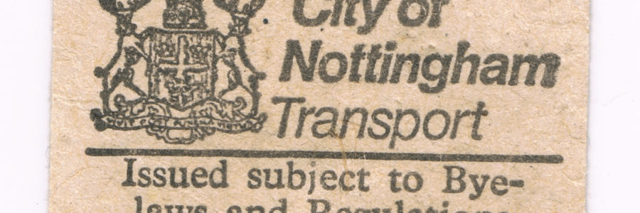 nottingham city 80's bus ticket