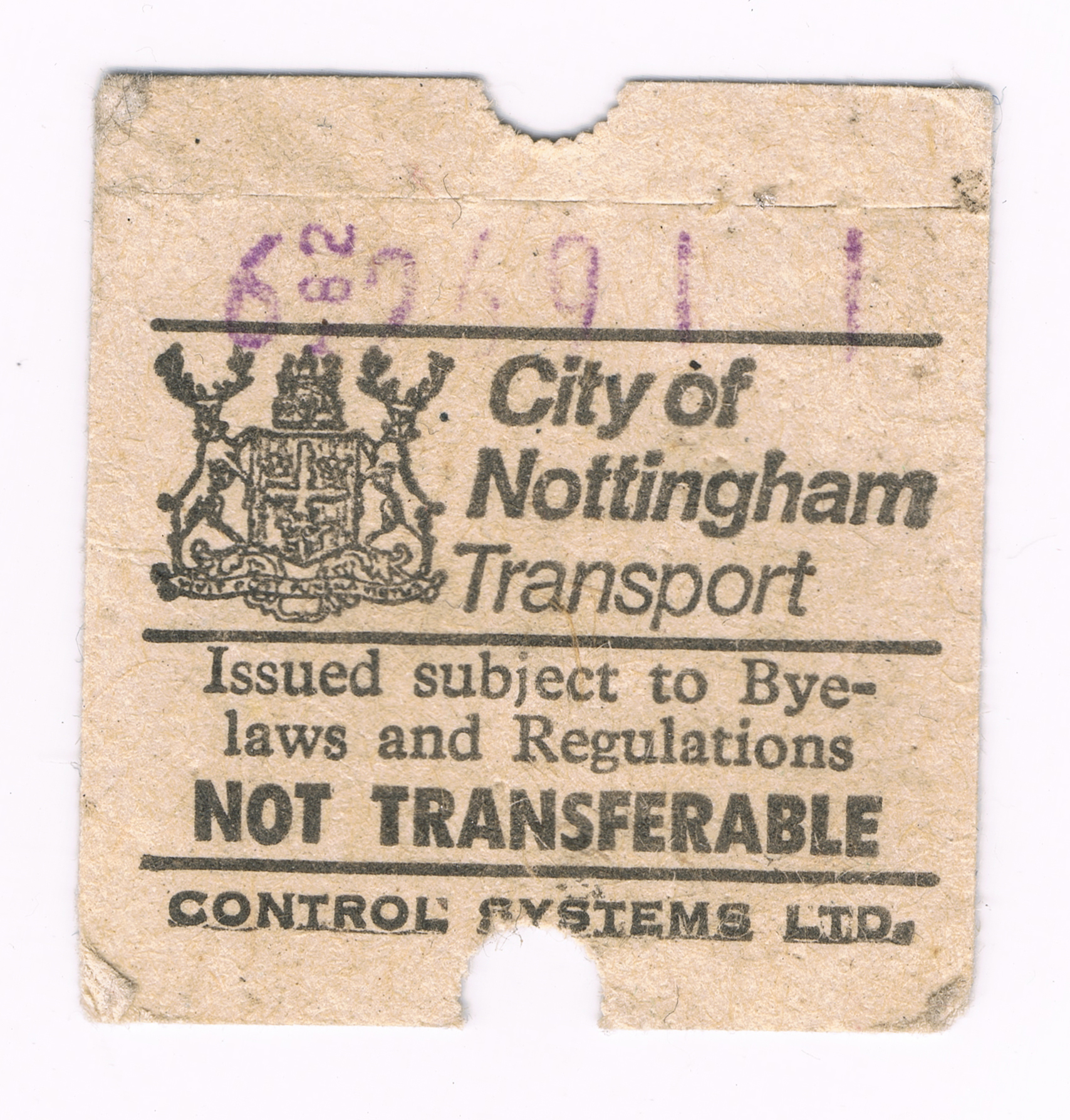 nottingham city 80's bus ticket